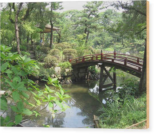 Shukkeien Bridge Wood Print
