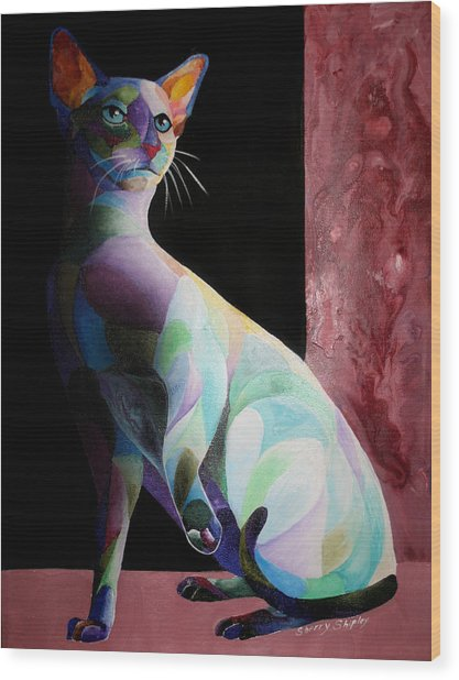 Siamese Shadow Cat 1 Wood Print