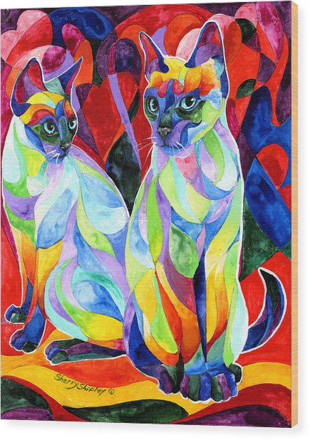 Siamese Sweethearts Wood Print