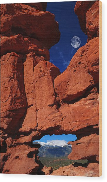 Siamese Twins Rock Formation At Garden Of The Gods Wood Print