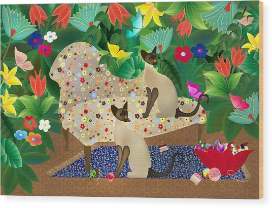 Siameses En Chaise Con Flores Limited Edition 2 Of 15 Wood Print