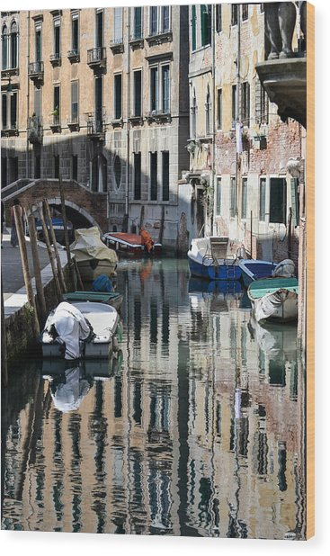 Side Canal Venice Wood Print
