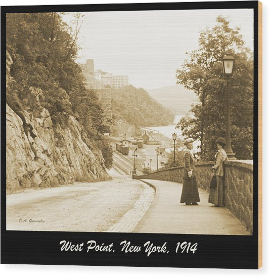 Sidewalk Conversation West Point New York 1914 Wood Print