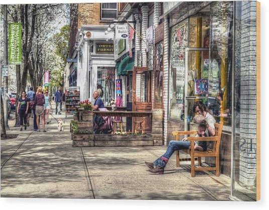 Sidewalk Scene - Great Barrington Wood Print
