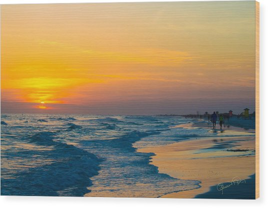 Siesta Key Sunset Walk Wood Print