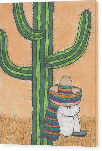 Siesta Saguaro Cactus Time Wood Print