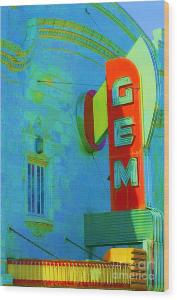 Sign - Gem Theater - Jazz District  Wood Print