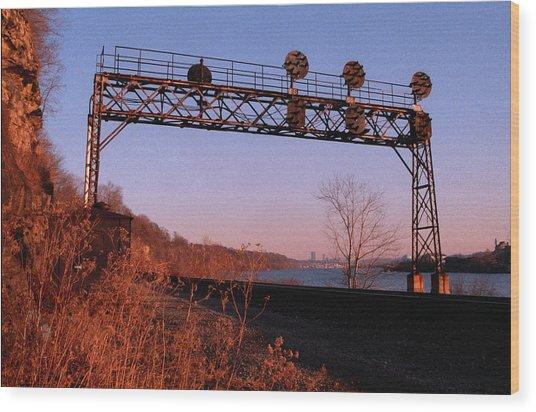 Signal Bridge Along Ohio River Near Pittsburgh Wood Print by Eric Miller