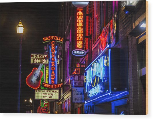 Signs Of Music Row Nashville Wood Print