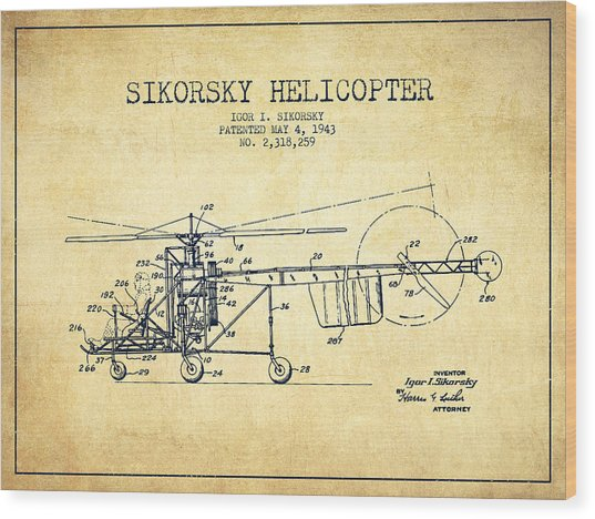 Sikorsky Helicopter Patent Drawing From 1943-vintgae Wood Print