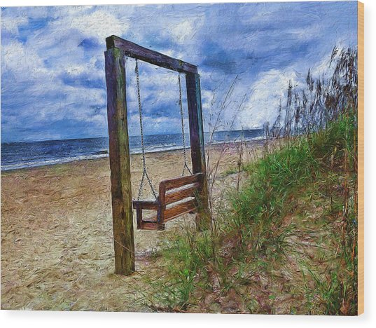 Silence Of The Waves Wood Print by Cary Shapiro