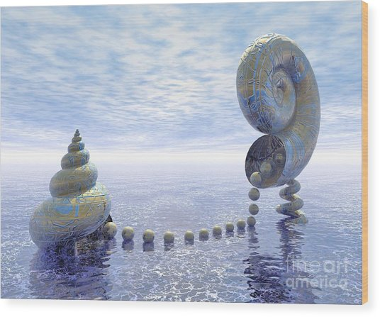 Wood Print featuring the digital art Silent Love - Surrealism by Sipo Liimatainen