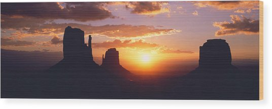 Silhouette Of Buttes At Sunset, The Wood Print