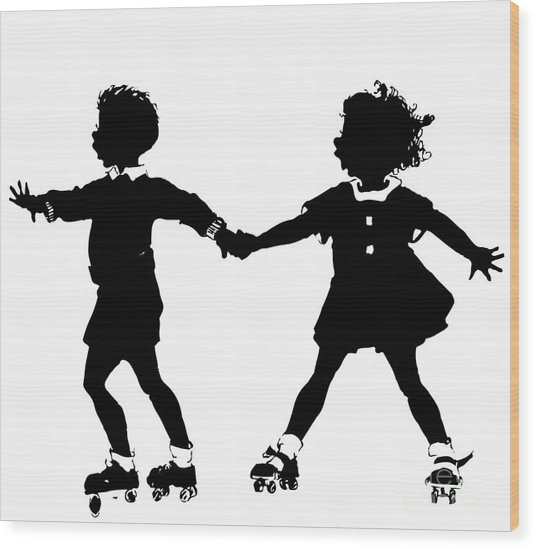 Silhouette Of Children Rollerskating Wood Print