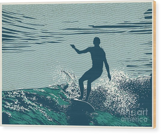 Silhouette Surfer And Big Wave Wood Print