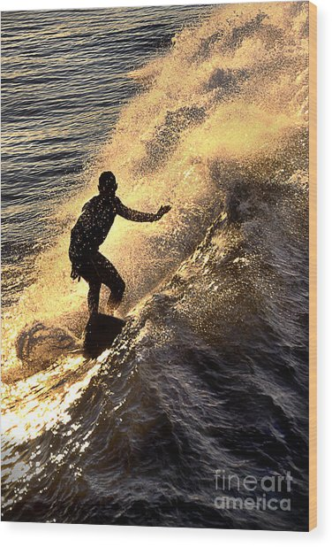 Silhouetted Surfer Wood Print