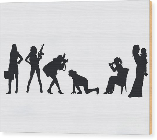 Silhouettes Of A Woman Wood Print by Laura Charlesworth