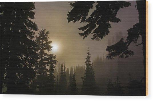 Silhouettes Of Trees On Mt Rainier II Wood Print