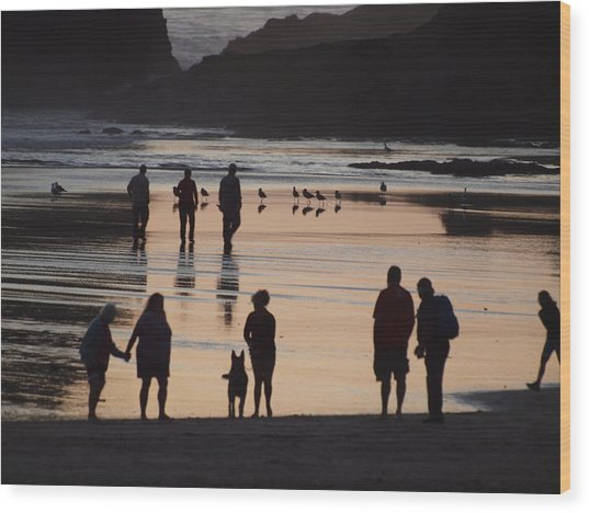 Silhouettes On The Beach Wood Print