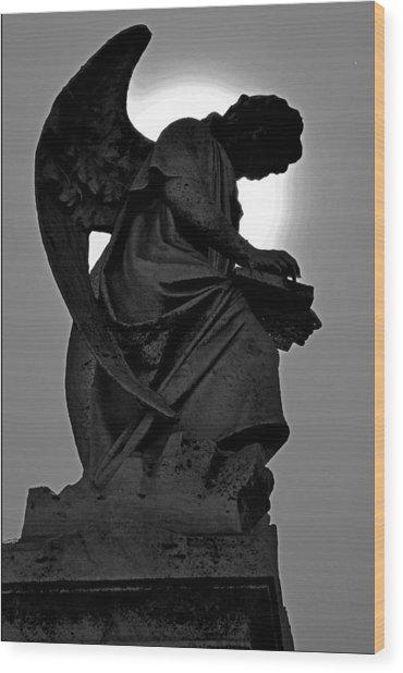 Silhoutte Angel Wood Print