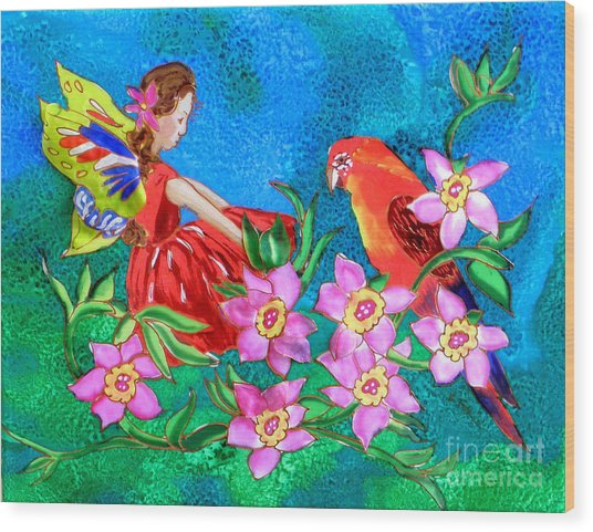 Silk Fairy And Parrot Wood Print