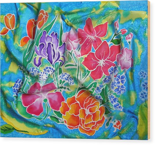 Silk Summer Bouquet Wood Print