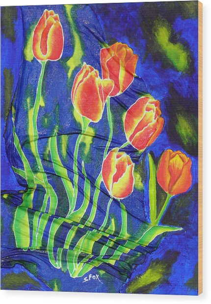 Silk Tulips Wood Print