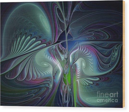 Silky Nights-fractal Design Wood Print