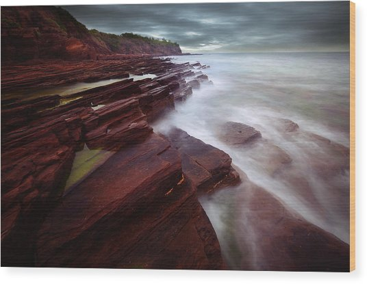 Silky Wave And Ancient Rock 3 Wood Print