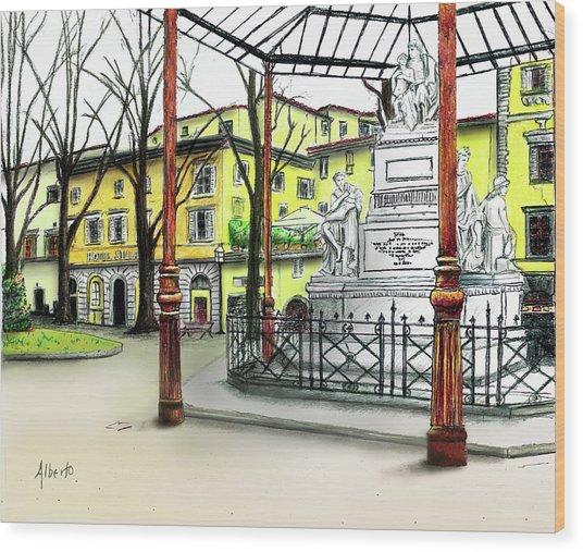 Silla Hotel Piazza Demidoff Florence Wood Print