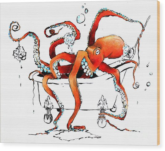 Silly Octopus Taking A Bath Wood Print