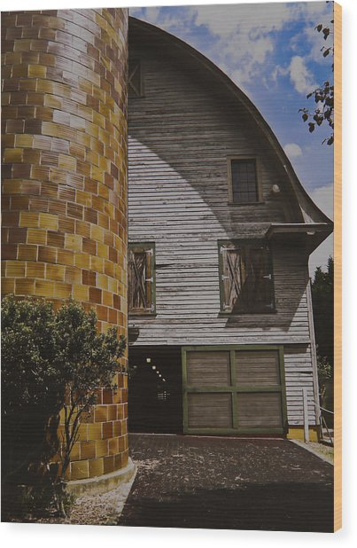 Silo And Horse Stable Wood Print