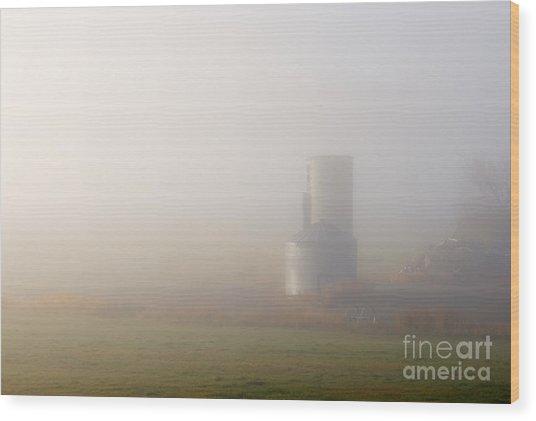 Silo In The Fog Wood Print
