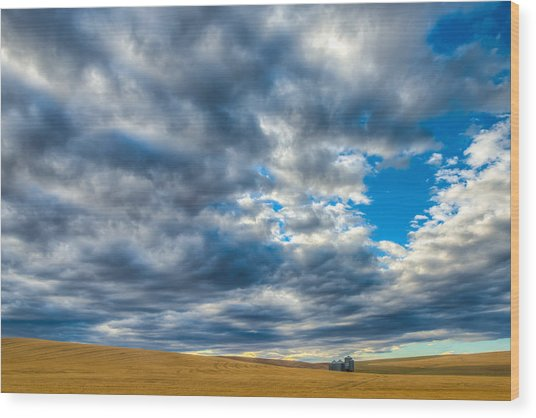 Silo Under Big Palouse Sky Wood Print
