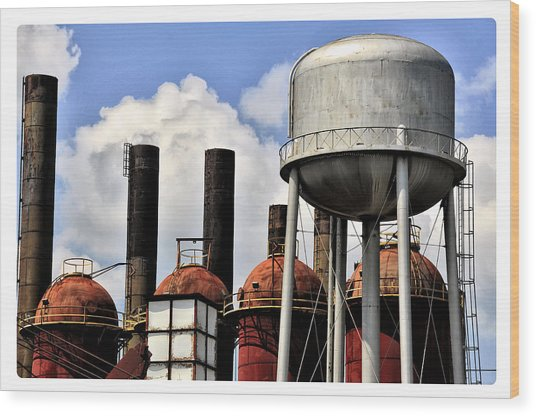 Silos In The Sky Wood Print