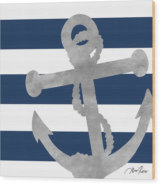 Silver Coastal On Blue Stripe I Wood Print