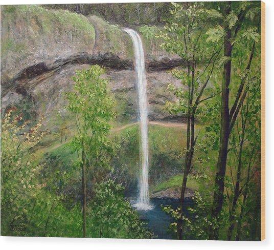 Silver Creek Falls Wood Print