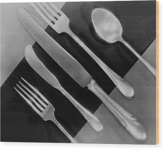 Silver Cutlery By Symphony By Towle Wood Print