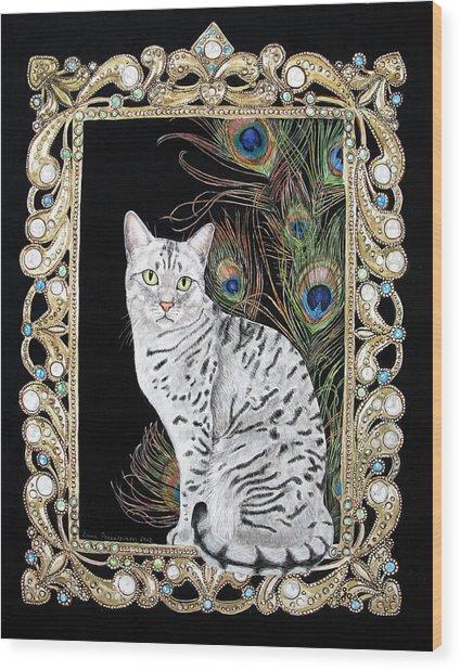 Silver Egyptian Mau Wood Print