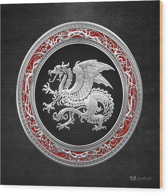 Silver Icelandic Dragon  Wood Print