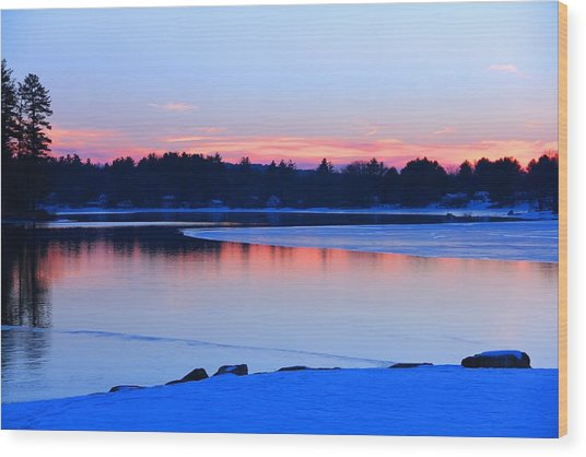 Silver Lake In The Evening Wood Print