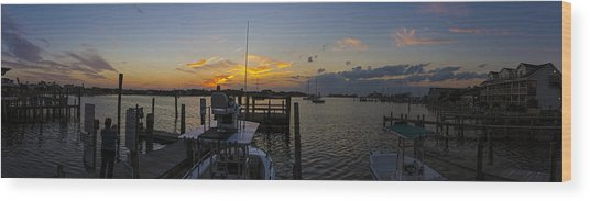 Silver Lake Sunset Panorama Wood Print