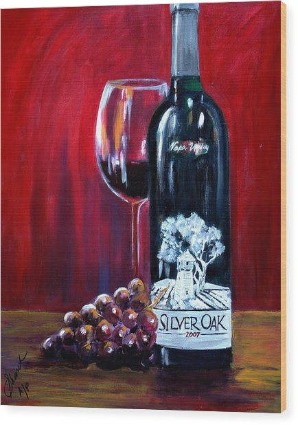 Silver Oak Of Napa Valley And Grape Wood Print