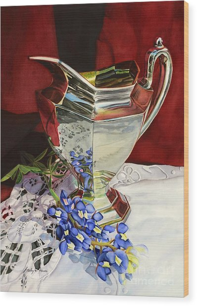 Silver Pitcher And Bluebonnet Wood Print