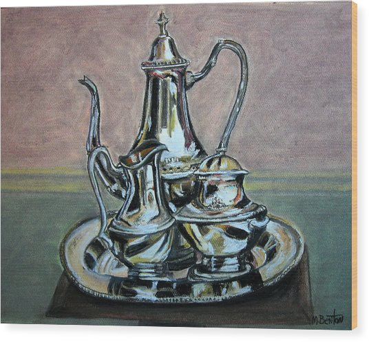 Silver Tea Set Wood Print
