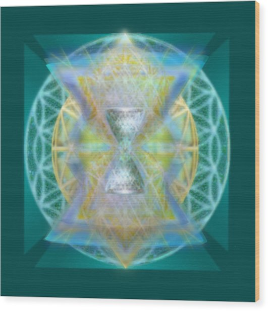 Silver Torquoise Chalice Matrix II Subtly Lavender Lit On Gold N Blue N Green With Teal Wood Print