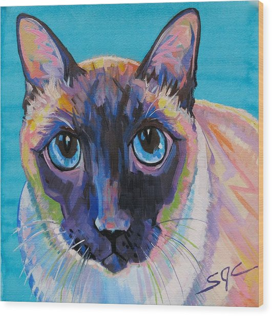 Simon The Siamese Wood Print