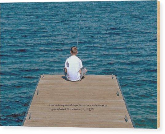 Simple Fishing W/scripture Wood Print