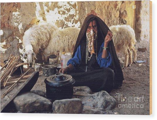 Sinai Bedouin Woman In Her Kitchen Wood Print