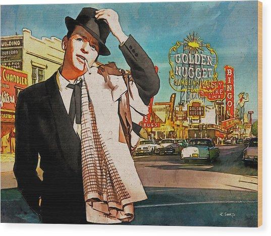 Sinatra In Vegas 1955 Wood Print